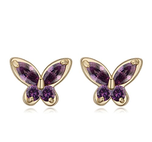Violeta Mariposas Pendientes con Cristales austríacos de Zirconia 18k Chapado en oro para mujer y...