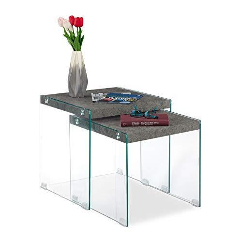 Relaxdays Satztische im 2er Set, Betonoptik, Glasgestell & MDF-Platte, eckig, Couchtisch, Wohnzimmer, 40 & 45 cm, grau