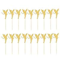 Colcolo 誕生日クリスマスのきらめくゴールドキラキラカップケーキトッパーピック20個 - 天使