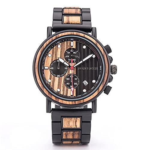 yuyan Correa de Elemento de Madera Textura Reloj de Madera Luminoso Hombre de Negocios de Negocios Impermeable Impermeable Hecho a Mano por el diseñador Movimiento de Cuarzo Importado japoné