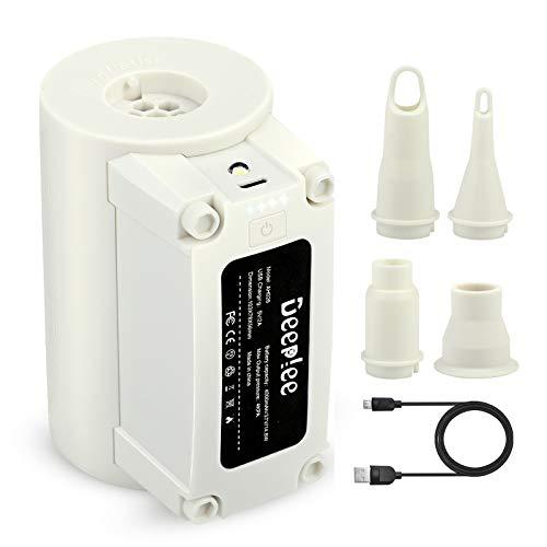 Deeplee USB Elektrische Luftpumpe, Wiederaufladbare Pumpe, 2 in 1 Inflate und Deflate Elektrische Pump mit 4 Luftdüse für aufblasbare Matratze,Schwimmring,Luftmatratze Pool,Aufbewahrungstasche.