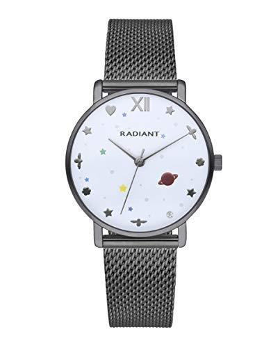 Reloj analógico para Mujer de Radiant. Colección Milky Way. Reloj Gris con Malla milanesa y Esfera Blanca con Detalles en Colores. 3ATM. 36mm. Referencia RA545201.
