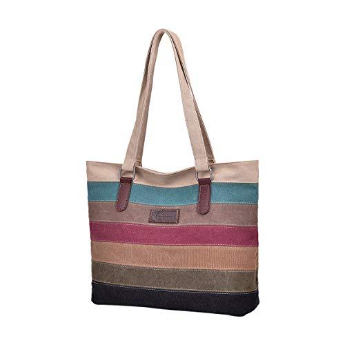 CHEREEKI Damen Multi-Color Streifen Handtasche, Canvas Schultertasche, Tote Große Kapazität Crossbody Tasche Hobo Umhängetasche für Mädchen Frauen Shopper
