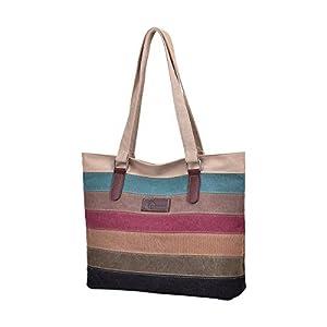 CHEREEKI Bolso para Mujer, Bolso de Lona Bolso Shopper de Mujer Multicolor Rayas para Damas Trabajo Escolar Compras y… | DeHippies.com