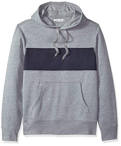 Amazon Essentials – Sudadera de forro polar con capucha para hombre, Gris (Light Gray Heather/Navy), US XL (EU XL - XXL)