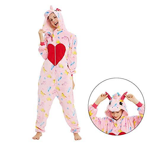 HJG Unicorn Onesie Pyjama Cosplay kostuum, dieren-pluche eendelig, stof, capuchon, pyjama, nachtwas.