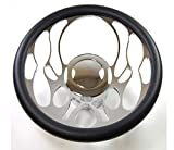 Pirate Mfg Hot Rod 14' Chrome Billet Flamed Style Steering Wheel Package W/Leather Grip