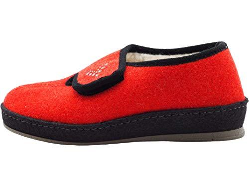 Schawos Filz Hausschuh für Damen, Modell Klara, Made in Germany, mit anatomisch geformtem Fußbett und aktiver Fersendämpfung, Farbe: rot (Numeric_42)
