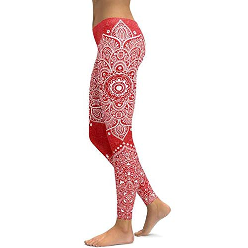 HPPLMandala Fitness yogabroek Dames sportleggings Workout Hot Running Leggings Sexy push-up gymkleding Elastische slanke broek, rood, XL