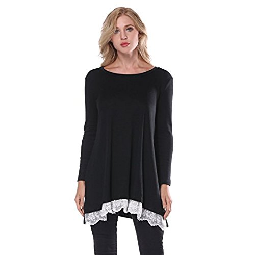 FOMANSH Women's Casual Tops Lace Hem Long Sleeve Tunic Blouse Medium Black