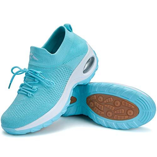 Zapatillas Deportivas Mujer Zapatos de Correr Running Ligero Calzado Casual Aumentar Más Altos Sneakers Azul Cielo C, Gr.37 EU