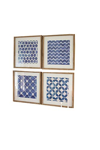 Kalalou Blue Block Geometric Prints Under Glass, Set of Four