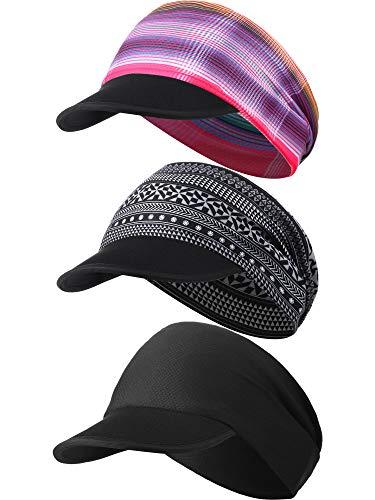SATINIOR 3 Pieces Yoga Headband Hat Different Design Women UV Protective Sun Visor Cap Lightweight Quick Drying Hat Elastic Sports Hat for Women, Multicoloured, Medium