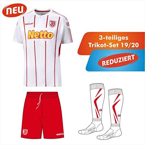 Saller SSV Jahn Regensburg Trikot Set 3-teilig 2019/2020 420 weiß-rot Gr. S