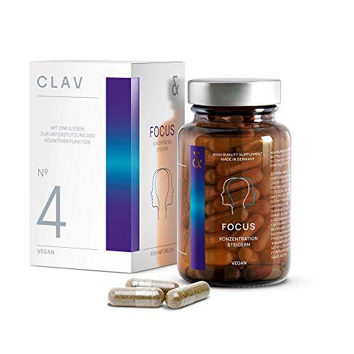 N°4 FOCUS | Nootropica - Brain Booster mit CDP-Cholin (Citicolin) + Ginkgo + Brahmi + Vitamin B-Komplex | Gedächtnis + Gehirnleistung steigern | 60 Konzentrations Kapseln | Vegan