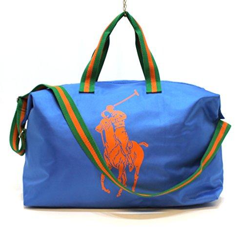 RALPH LAUREN - Borsa per sport / palestra, con logo cavallo grande, colore: blu con logo arancione