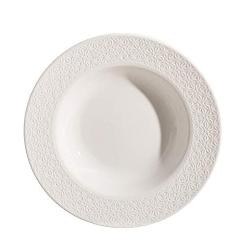 Plato hondo flores en relieve blanco porcelana de ø 22 cm - LOLAhome