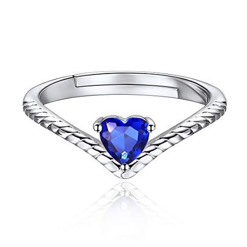 ChicSilver Septiembre Zafiro Azul Anillo Simple Minimalista Ajustable Plata de Ley 925 Platino Corazón