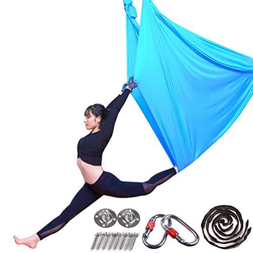Aerial Yoga Hängematte Pilates Trapez Silk Elastische Yogatuch Haengematte Seiden Yoga Schaukel Set Hängetuch Equipment inkl. Karabiner, Daisy...