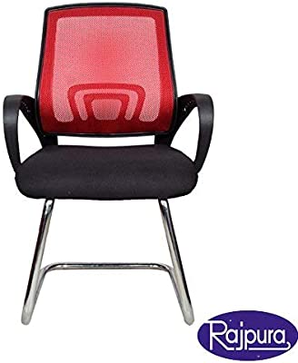 Rajpura Voom Medium Back Visitor Chair in Black Fabric and Red mesh/net Back Office Executive Chair