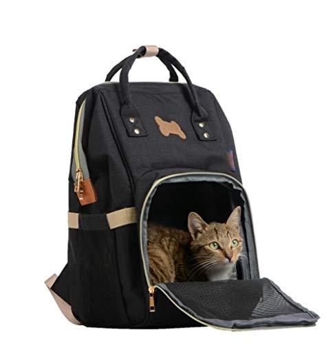 no-branded Pet Carrier Bag Fashion Design Canvas Pet Dog Bag Cat Dog Carrier Tote Luggage Shoulder Traveling Portable Bag QPLNTCQ (Color : Black, Size : 43x28x20cm)