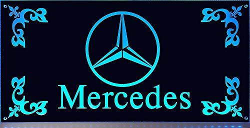 Schilderfeuerwehr LED-Leuchtschild mit Mercedes-Stern, 30x15cm ✓ 18 LEDs ✓ Neonschild als Truck-Accessoire | Beleuchtetes Mercedes Logo-Schild für den 24Volt-Anschluss | LKW-Zubehör für Trucker