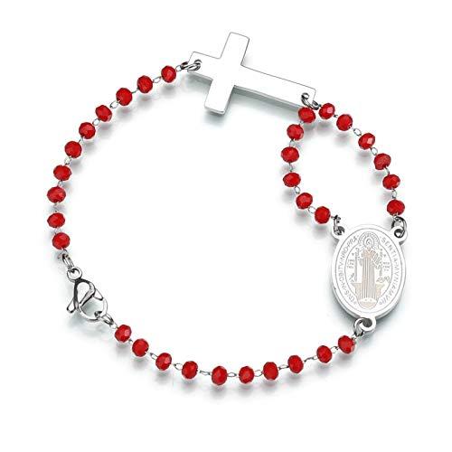 KUANGLANG Pulsera con Colgante de Cruz de Cuentas Rojas elásticas de Diamantes de imitación, Brazalete de Acero Inoxidable con religión de Jesús, Amuleto para Mujer, Regalo católico