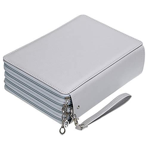BTSKY 200 Slots Colored Pencil Organizer - Deluxe PU Leather Pencil Case Holder with Removal Handle Strap Pencil Box Large for Colored Pencils Watercolor Pencils Grey