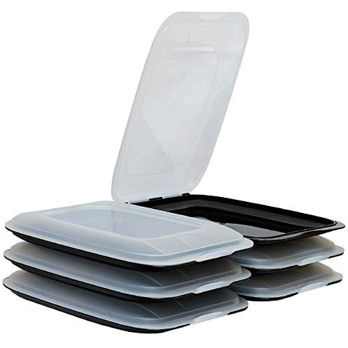 ENGELLAND - Hochwertige stapelbare Aufschnitt-Boxen, Frischhaltedose für Aufschnitt. Wurst Behälter. Perfekte Ordnung im Kühlschrank, 6 Stück Farbe Schwarz, Maße 25 x 17 x 3.3 cm