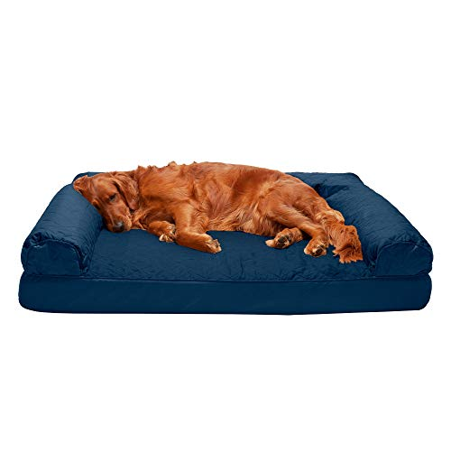 Furhaven Pet Dog Bed - Orthopedic Quilted Traditional Sofa-Style Living Room Couch Pet Bed with Removable Cover for Dogs and Cats, Navy, Jumbo