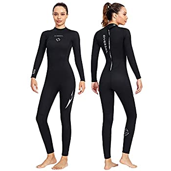 Wetsuit Women Men Full Body Wet Suit 3MM Neoprene Surfing Scuba Diving Suits One Piece Long Sleeve Wetsuits Back Zip Thermal Swimsuit for Swimming Cold Water Sports  Women Black XXXL