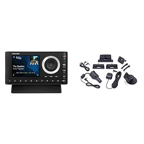 SiriusXM SXPL1H1 Onyx Plus Satellite Radio with Home Kit with Free 3 Months Satellite and Streaming Service & SXDV3 Satellite Radio Vehicle Mounting Kit with Dock and Charging Cable (Black)