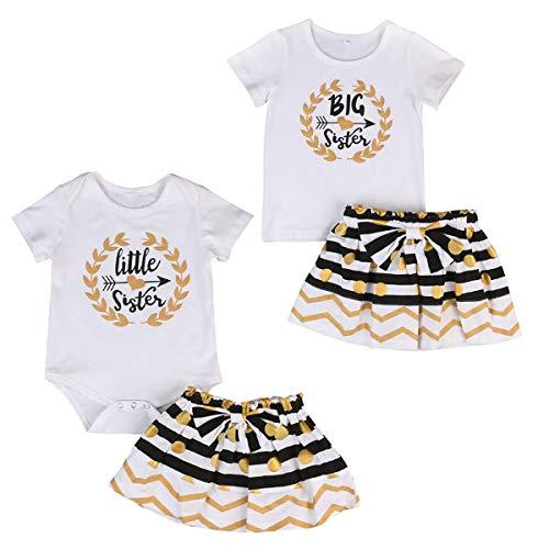 Mädchen passende Outfits Schwestern Strampler/T-Shirt + Faltenrock Geschwister Kleidung Set (Color : White, Size : Big 1-2T)