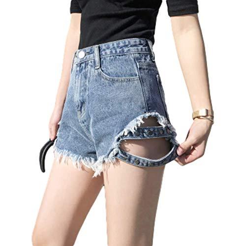 Pantalones cortos de mezclilla ultracortos para mujer Agujeros rasgados Remaches Pantalones cortos de tendencia de personalidad con bordes rasgados ajustados con botón y tapeta con cremallera Large