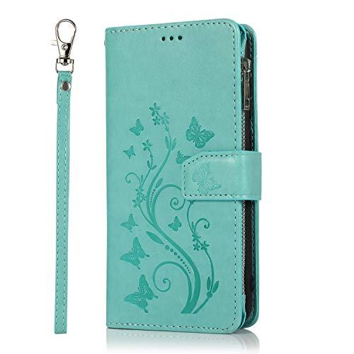 Nadoli Hülle Reißverschluss für Samsung Galaxy A21S,Retro Brieftasche Handytasche Pu Leder Schutzhülle mit Stand Kartenhalter Schutz Klappbörse mit Blumen Schmetterling Entwurf