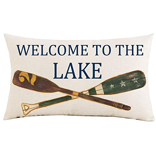 Jimrou Throw Pillow Cover 12x20inches Festival Gifts Welcome to The Lake Wood Retro Oars Decoration Summer Holiday Faux Cotton Linen Decorative Home Sofa Chair Car Throw Pillow Case Cushion Cover
