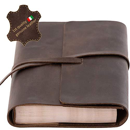 Nachfüllbares Tagebuch – Italienisches Echtleder – 320 Vintage-Seiten – handgefertigtes A5-Leder-Notizbuch, elegantes Design, Lederband-Verschlusssystem, schönes Geschenk für Damen und Herren