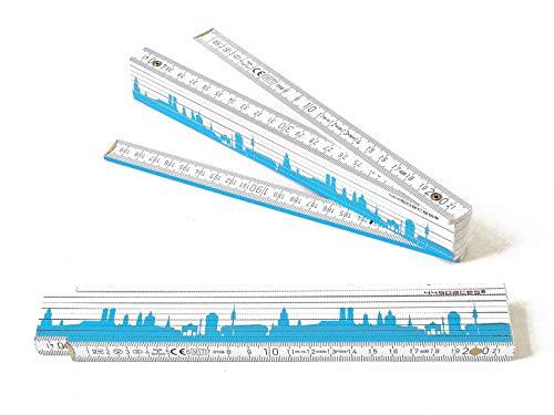 44spaces Zollstock München Motiv bayrisch-blau, Papa Geschenkidee Vatertagsgeschenk personalisiert Geburtstagsgeschenk Vater Tochter Handwerker Holz Werkzeug 2 m