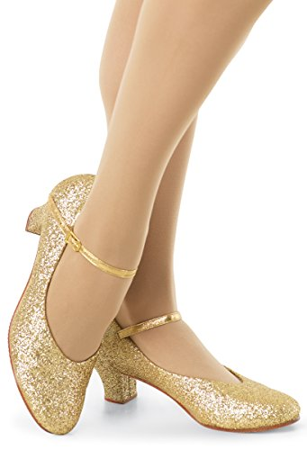 Balera Shoes Girls Character Shoes For Dance Womens Heels With Glitter And 1.5 Inch Heel Gold 7.5AM