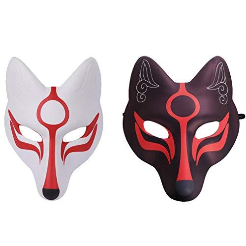 VALICLUD Fuchs Maske Gesichtsmaske Halbmaske Japanische Kabuki Kitsune Cosplay Kostüm Maske für Maskenball Karneval Fasching Mottoparty Maskerade Theater Verkleidung 2 Stück Schwarz Weiß