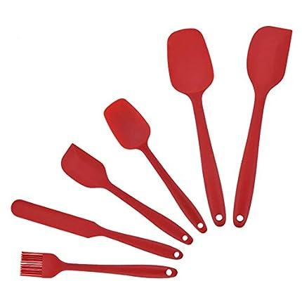FUKTSYSM Espátulas de Silicona - 6 Pcs Resistente Espátulas de Silicona, Protección del Medio Ambiente, No Tóxico, Antiadherente, Resistente al Calor, Utensilios para Cocina y Horneado