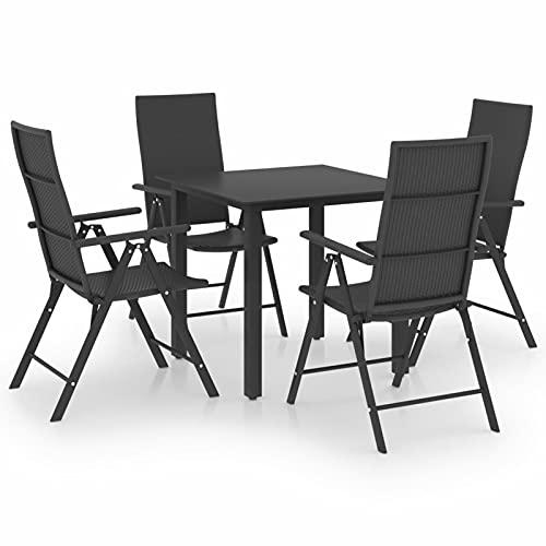 Tidyard Juego de Comedor para Jardín 5 Piezas Muebles Mobiliario Exterior Terraza Jardín Balcón Comedor Hogar Cocina Mesa y Plegables Silla Asiento Suave Negro