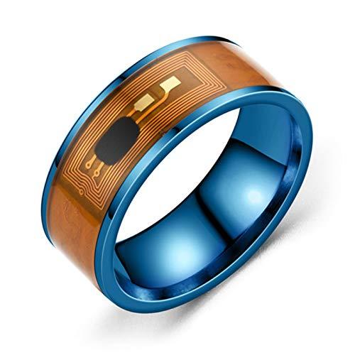 Benoon Fingerringe, NFC-Edelstahl, Telefon-Chip-Tropföl, duales Drachenmuster, Smart-Ring, Geschenk – Blauer Ring US 10