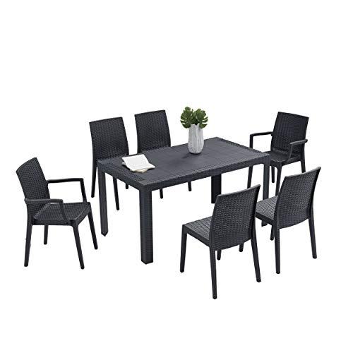 Kasalingo Set Giardino Tavolo più sedie da Giardino, Tavolo e sedie da Esterno Rattan, Tavolo da Giardino e 6 sedie, terrazzo o Balcone, 140 x 80 x 72 cm (Antracite)