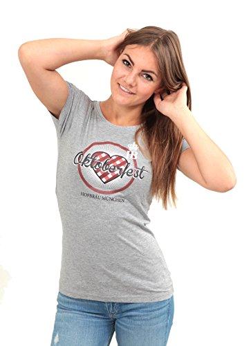 Damenshirt Karo-Herz, grau, Damen T-Shirt mit Hofbräu Logo aus 100% Baumwolle Größe XXL