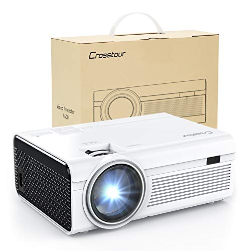 Projector, Crosstour Mini LED Video Projector Home Theater Supporting 1080P 55,000 Hours Lamp Life Compatible with HDMI/USB/SD Card/VGA/AV and Smartphone (White)