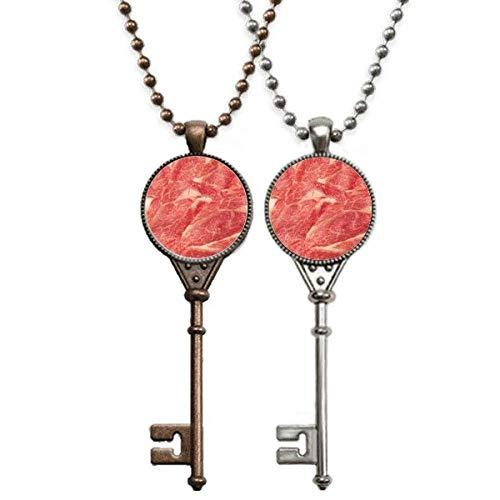 Colar de chave com textura de carne crua de carne crua para decoração de casais