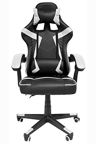 Audiotek Pro System Silla Gamer Ergonomica Reclinable Vinil Resitente Colores Gaming Chair Cojin Lumbar (Blanco) Excelente Calidad Premium Computadora Pc Compu