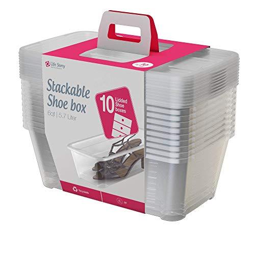 Life Story 13.7 x 8 x 4.98 Inch 6 Quart/5.7 Liter Plastic Stackable Clear Shoe and Closet Storage Box Container Bin with Lids, 10 Pack