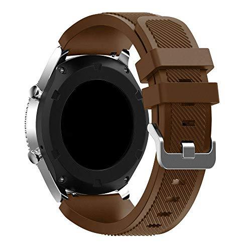 KOBWA Gear S3 Ersatzarmband für Samsung Galaxy Watch S3 Frontier Classic (46 mm), Weiches Silikon Armband für Herren und Damen, 22 mm Smartwatch, Sportarmband, Schwarz/Rot / Weiß Coffee